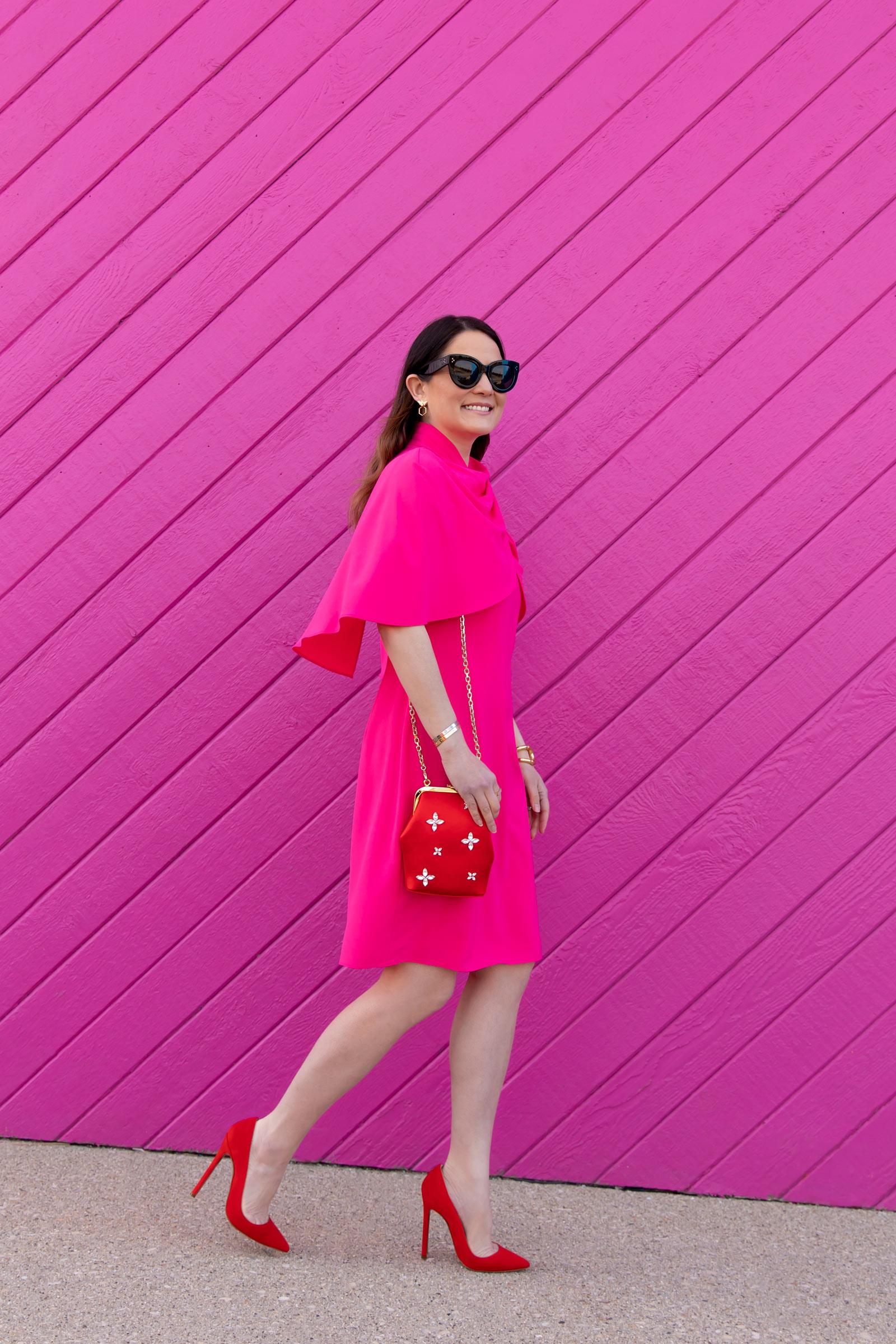 Tahari Fuchsia Pink Cape Dress