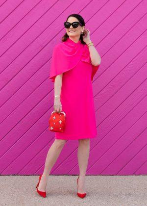 Why I Love This Tahari Pink Cape Dress