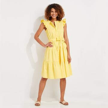 vineyard vines yellow ruffle dress