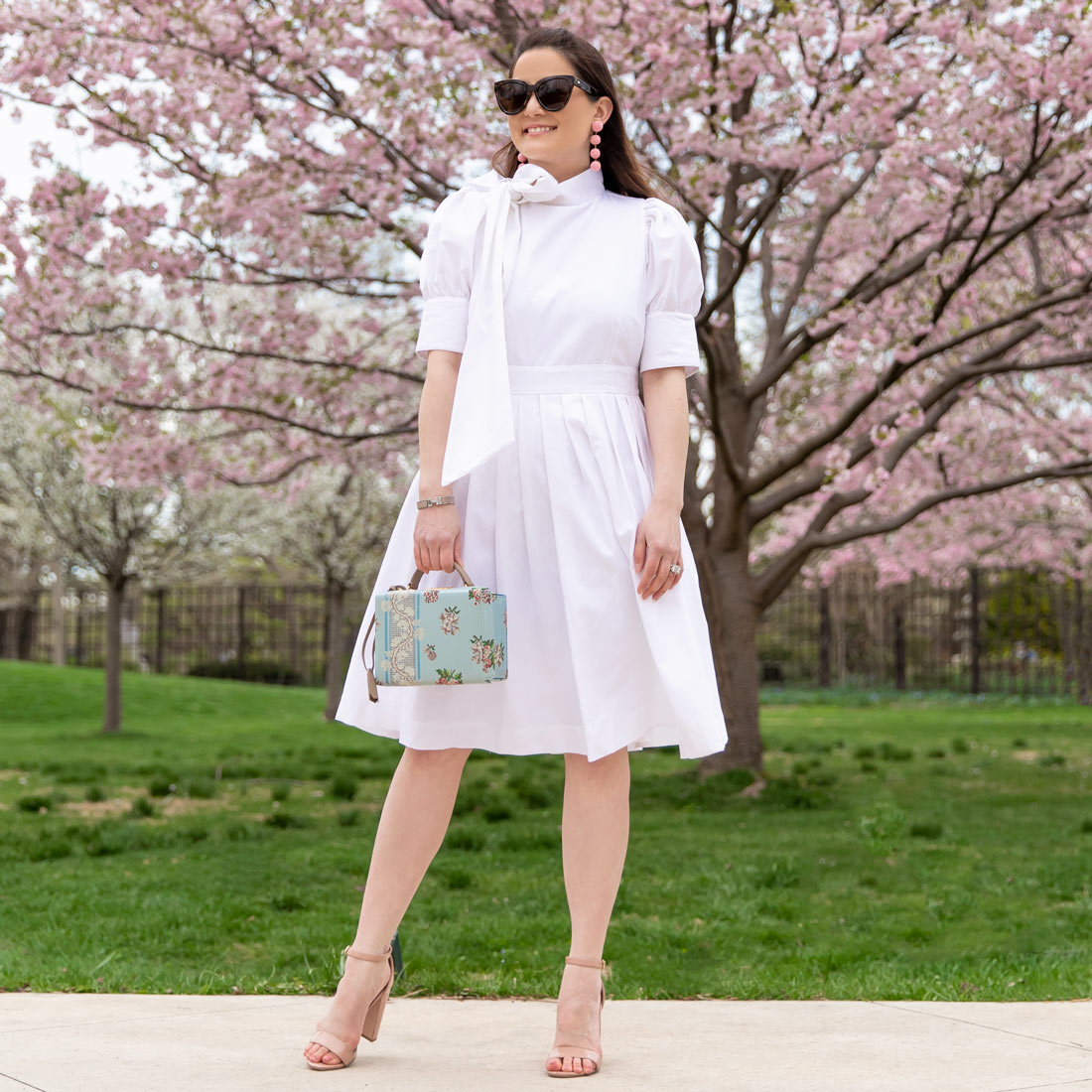 White Bow Neck Fit Flare Dress