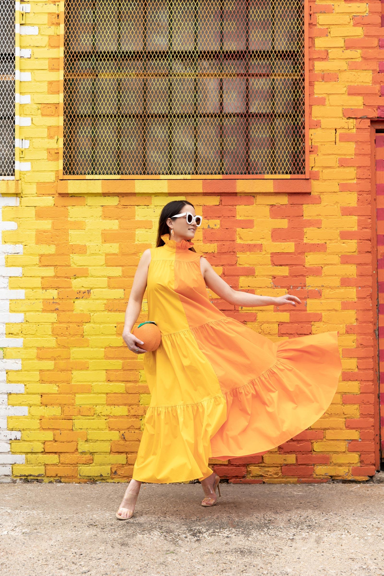 jennifer lake yellow orange dress