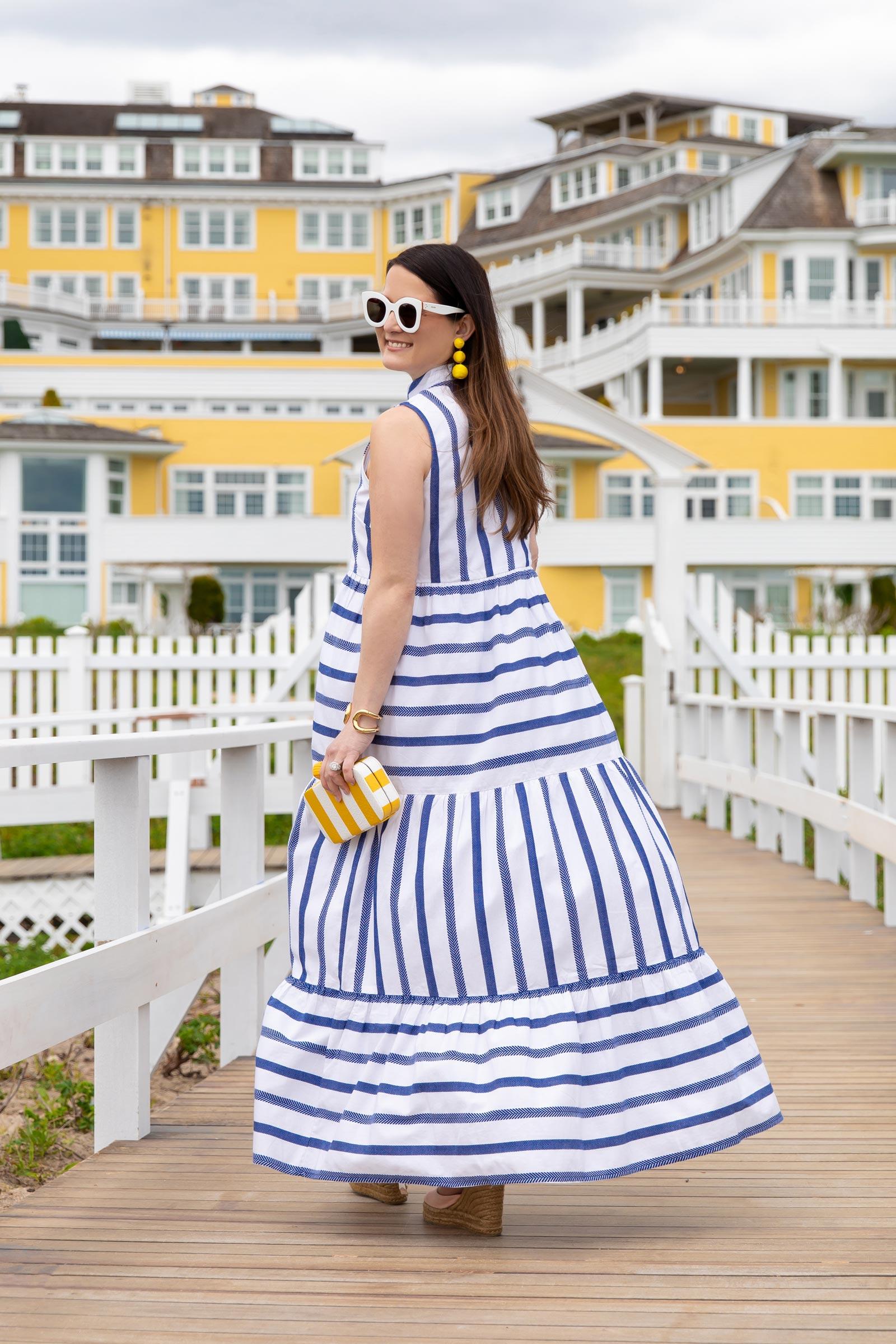 Jennifer Lake Navy Stripe Maxi Dress