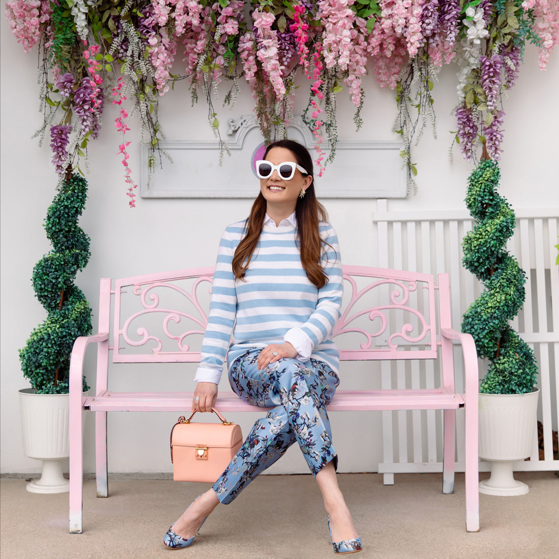 Jennifer Lake Pink Bench Floral Wall