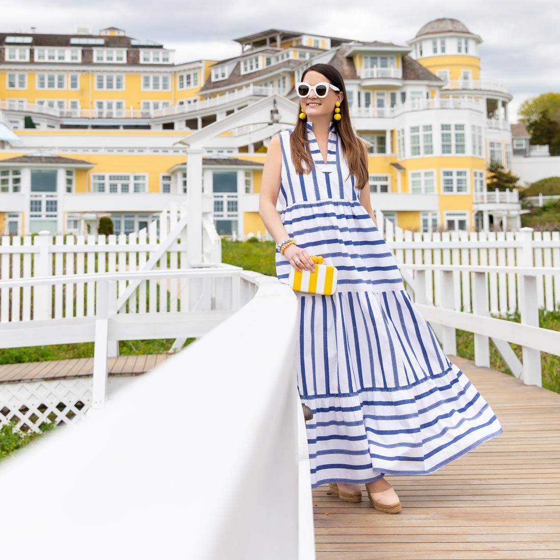 Jennifer Lake Stripe Maxi Dress