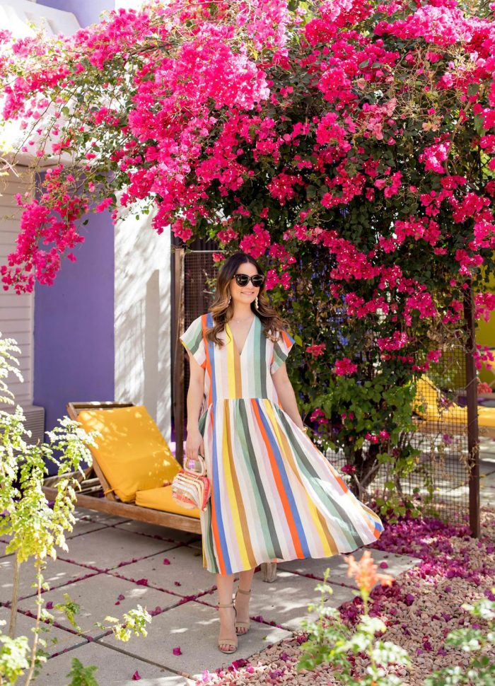 Whit Two Colorful Striped Dress
