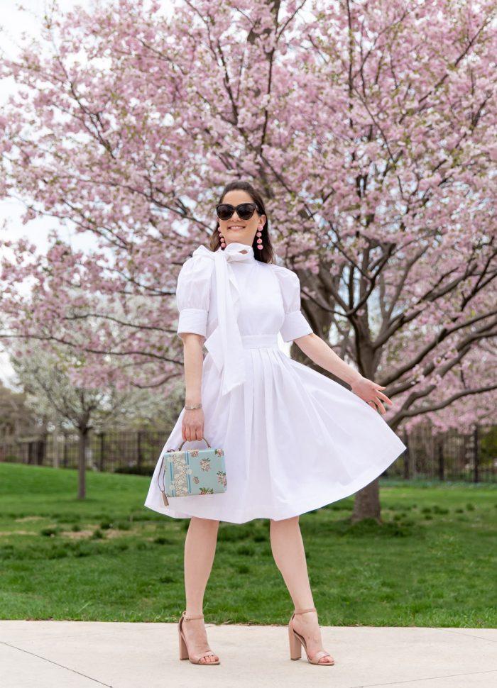 White Bow Neck Dress