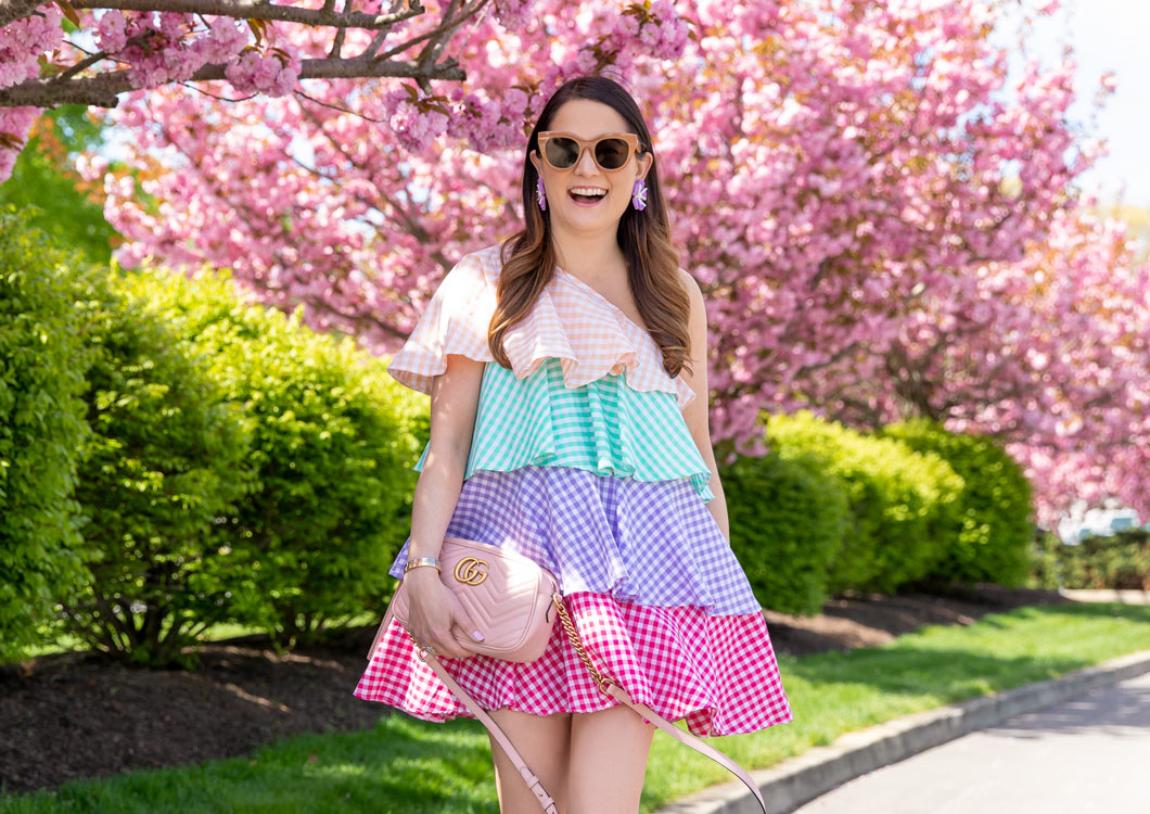 Multicolor Gingham Tiered Dress