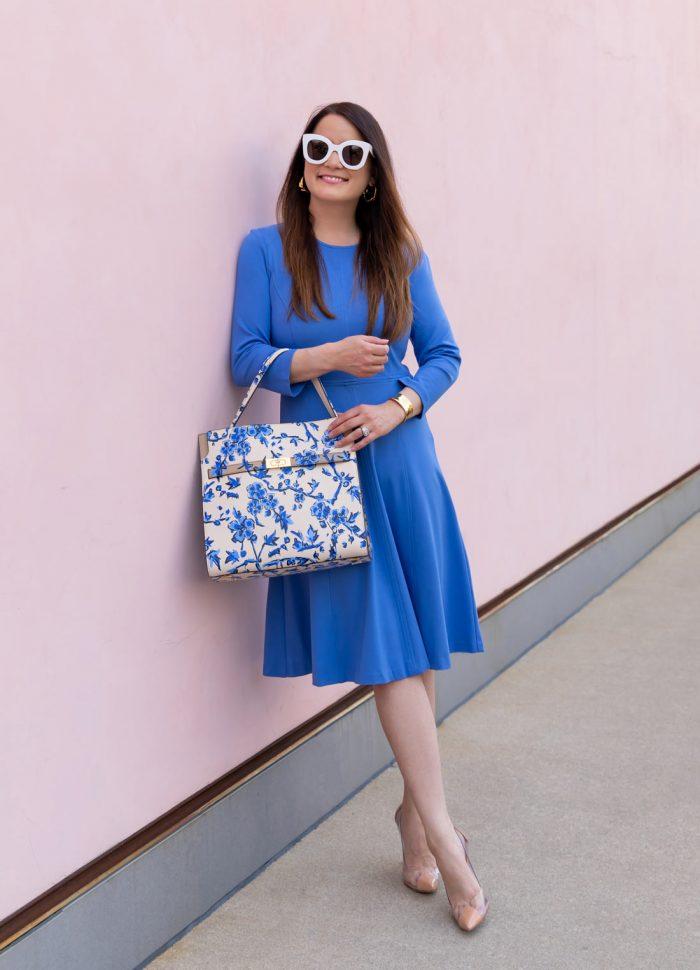Eliza J Fit Flare Blue Dress