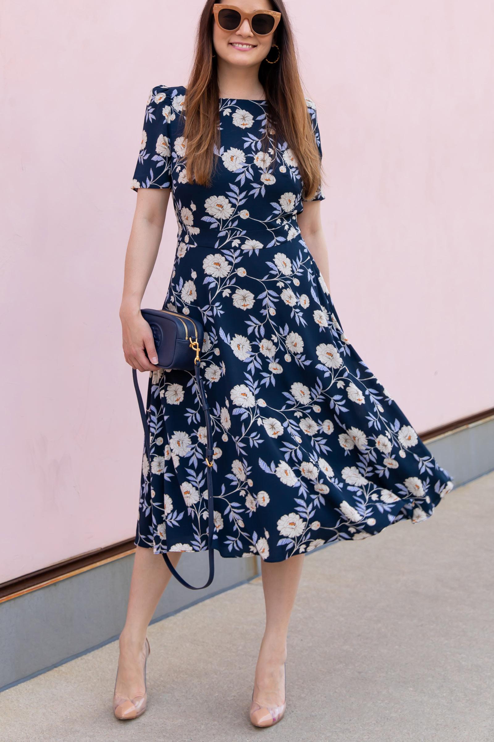 Harper Rose Floral Puff Sleeve Fit Flare Dress