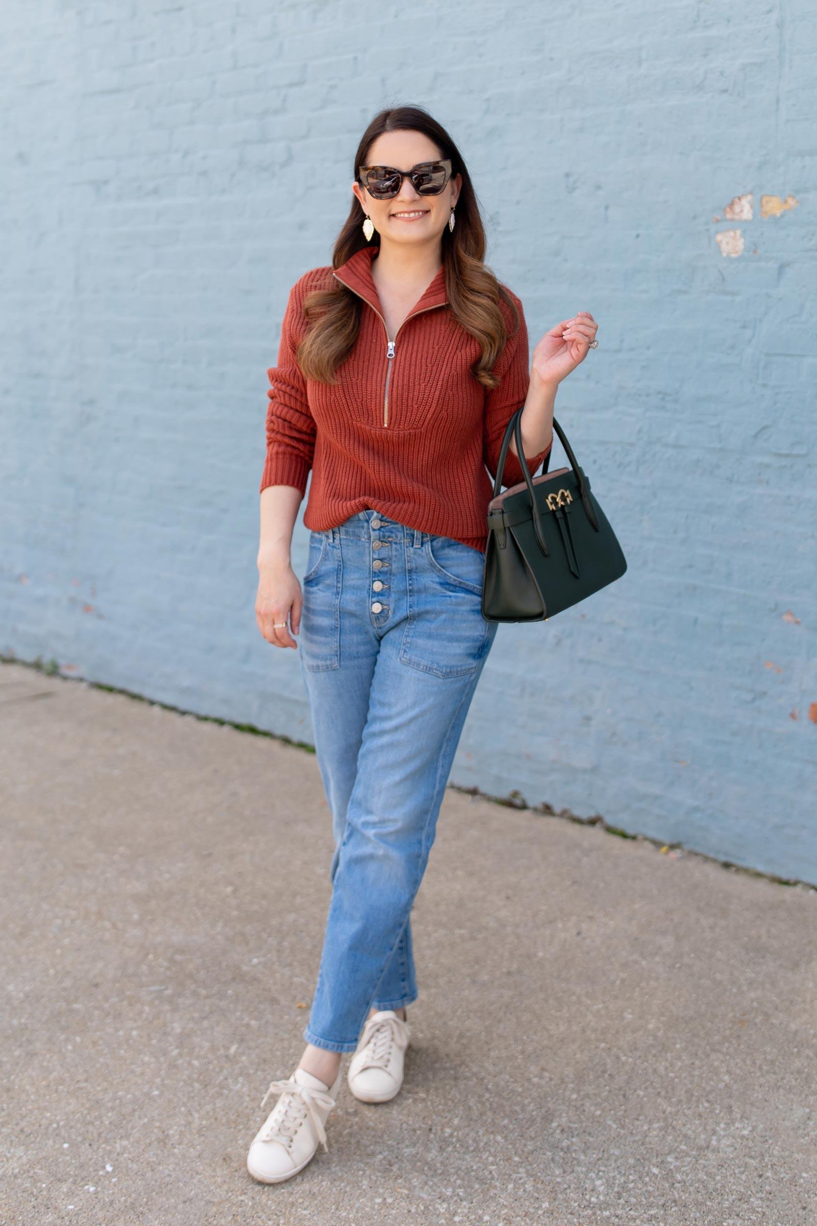 Jennifer Lake Veronica Beard Half-Zip Sweater
