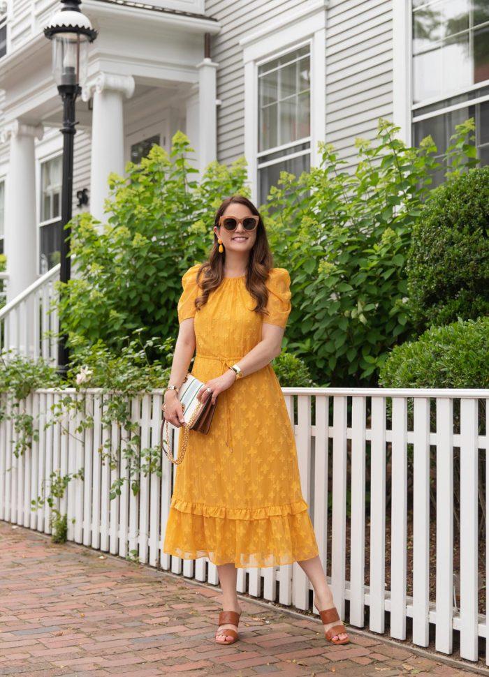 Julia Jordan Yellow Jacquard Dress