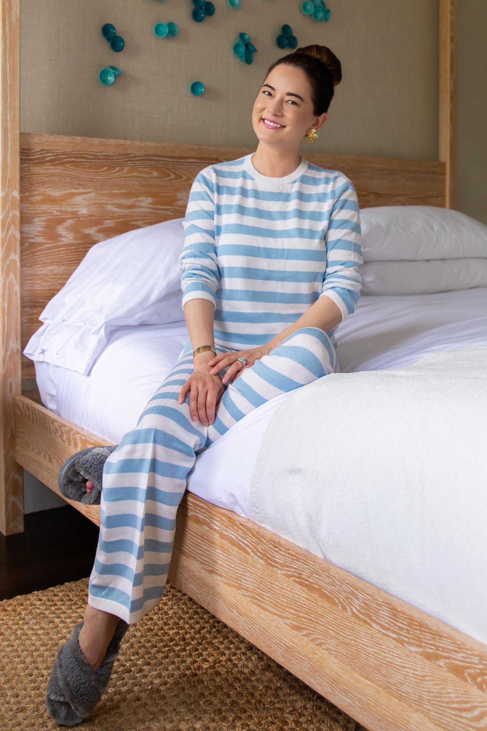 Style Charade Blue Stripe Lounge Set
