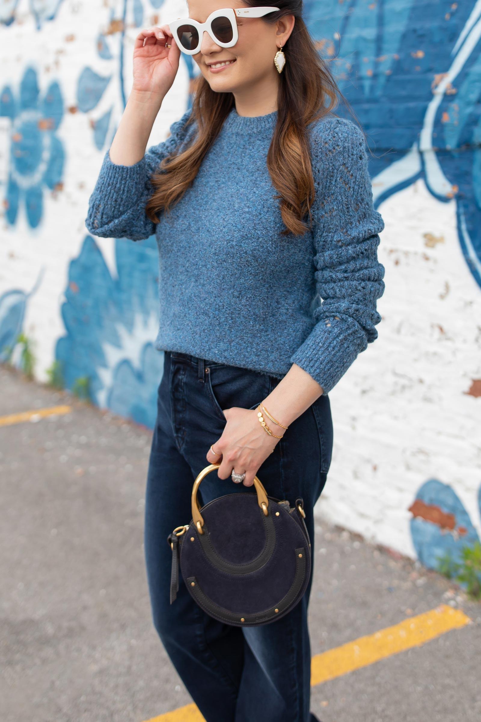 Veronica Beard Blue Puff Sleeve Sweater