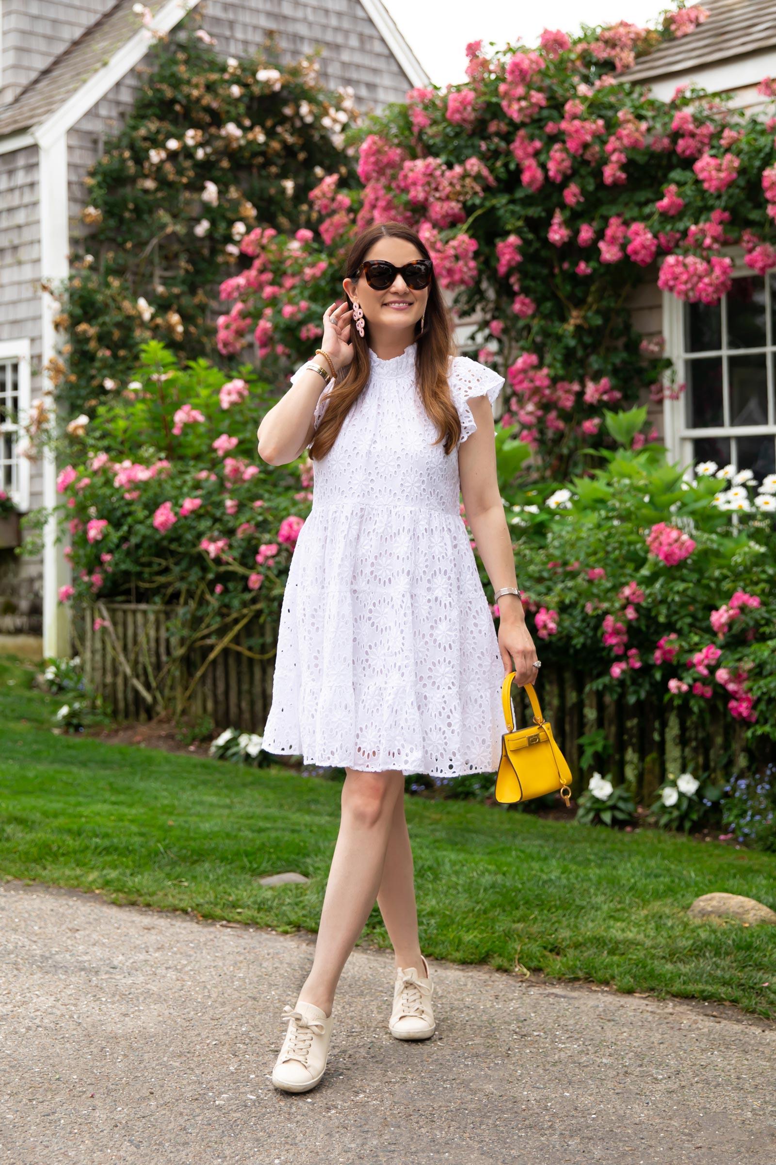 White Eyelet Flutter Sleeve Dress
