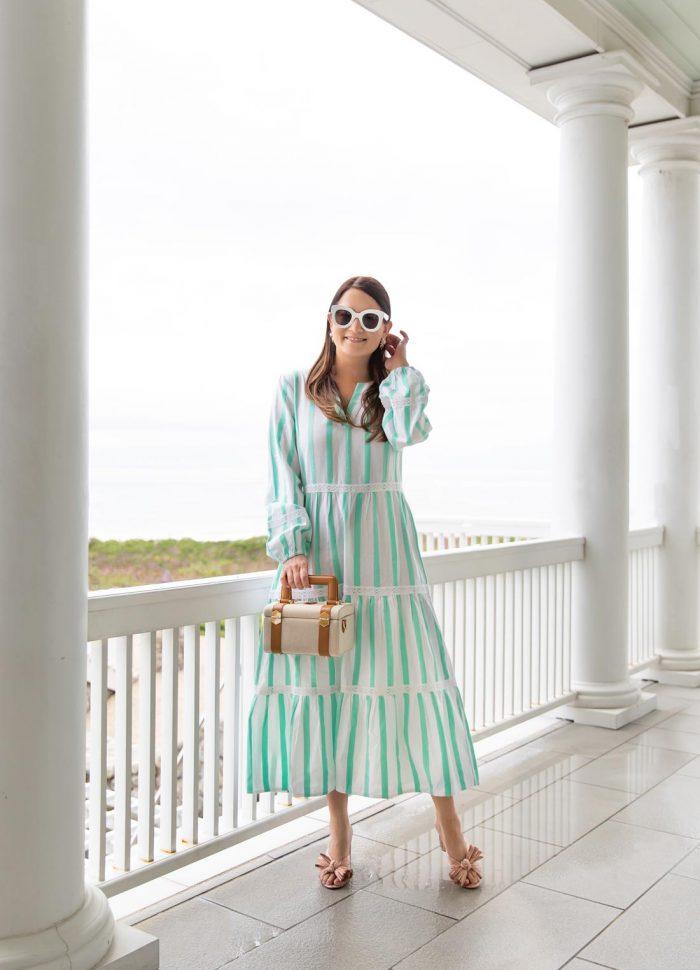 green stripe midi dress