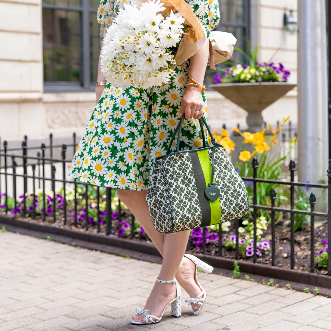 Jennifer Lake Kate Spade Green Floral Jacquard