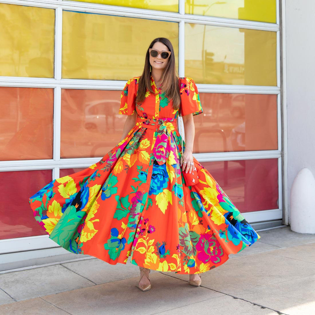 Jennifer Lake Orange Floral Shirtdress