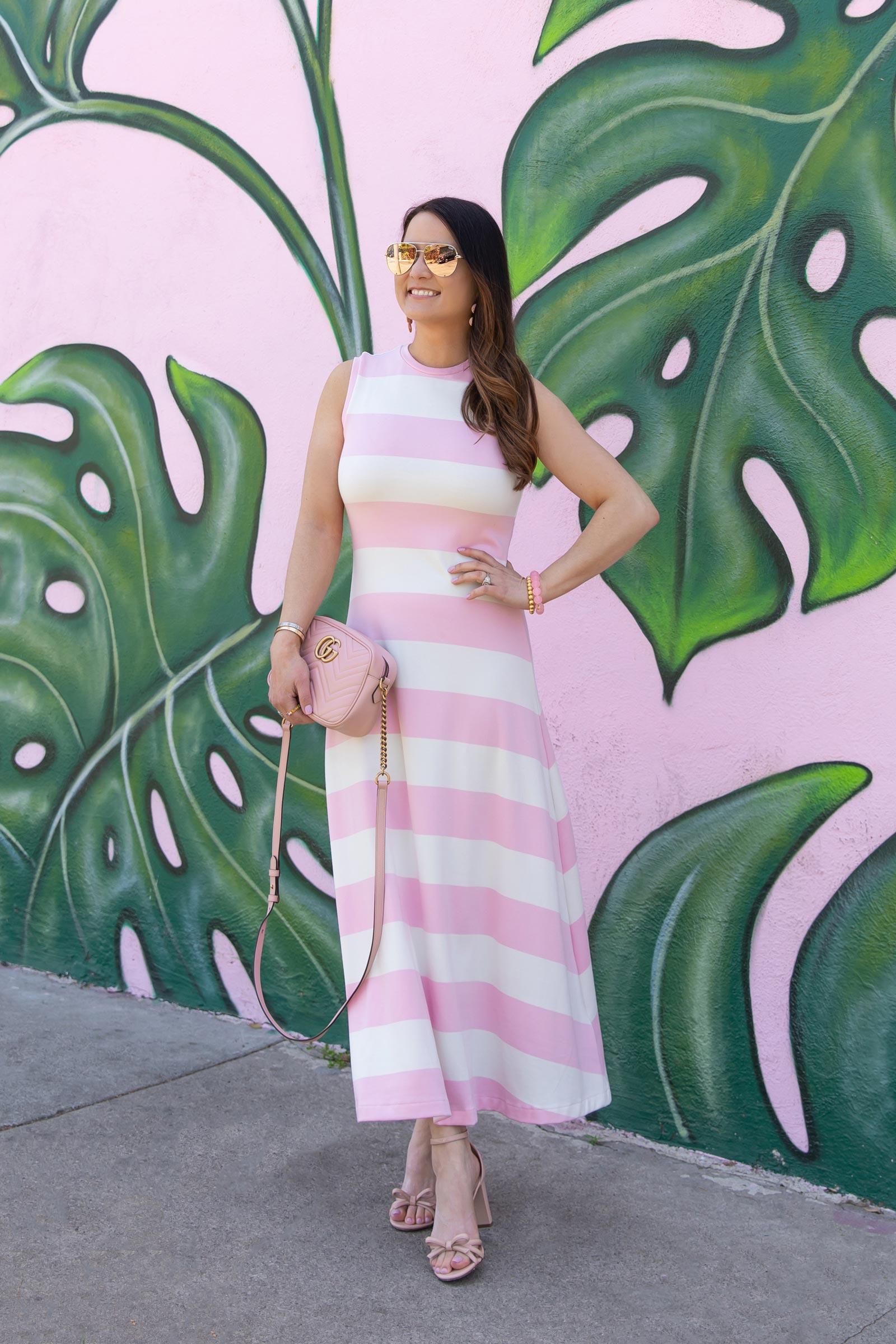 jennifer lake pink stripe dress