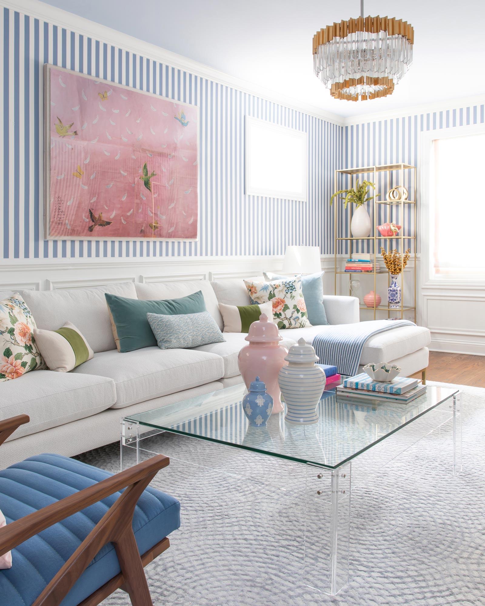 Jennifer Lake Stripe Living Room