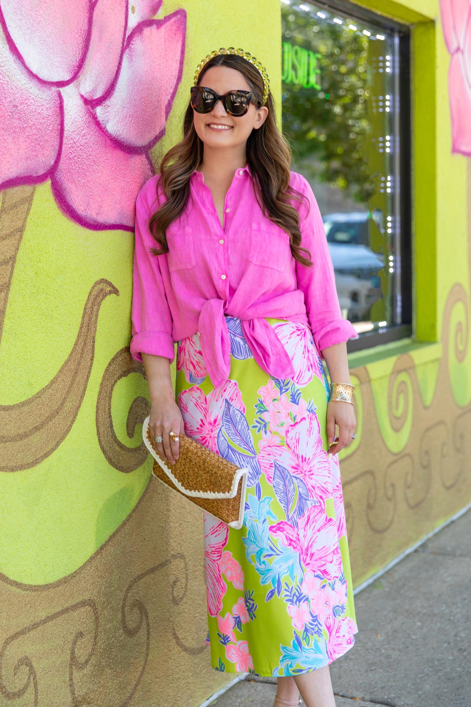 lilly pulitzer pink linen shirt