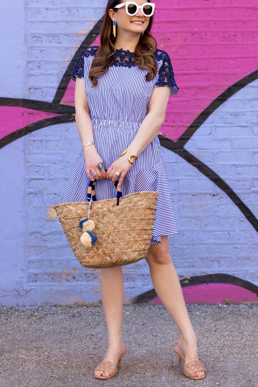 milly lace yoke stripe dress