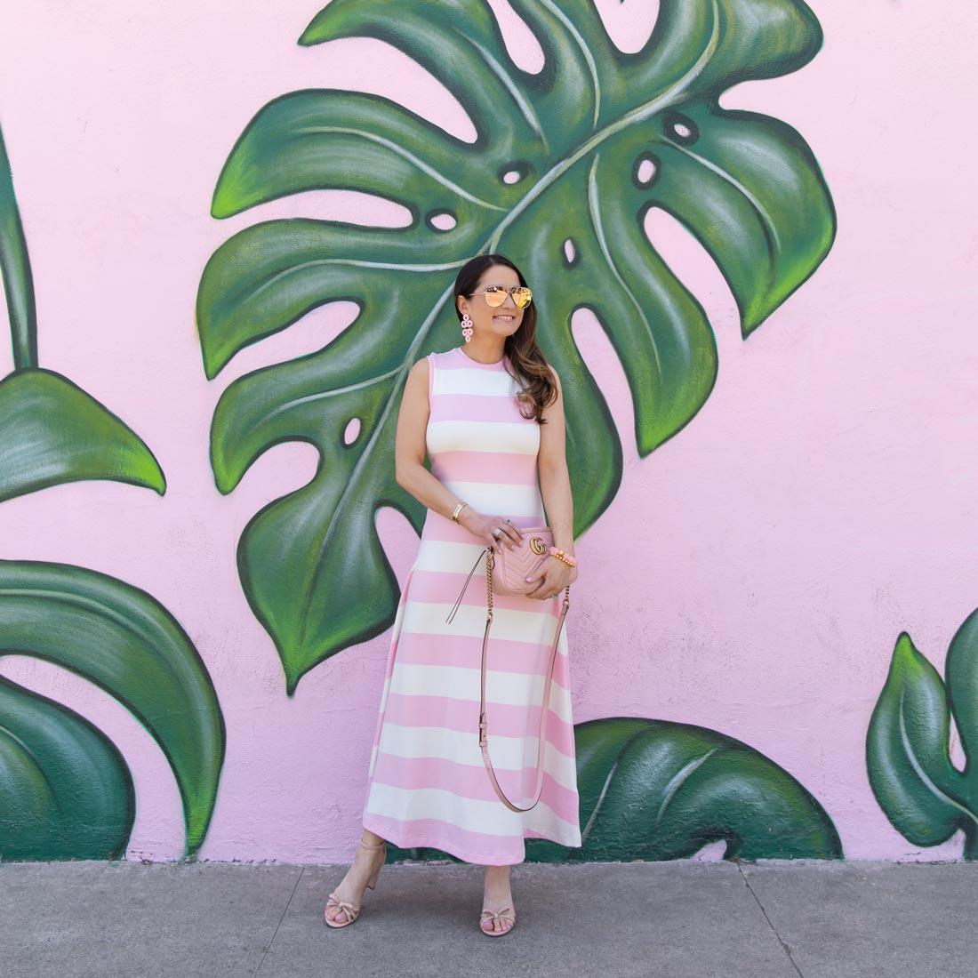pink leaf mural los angeles