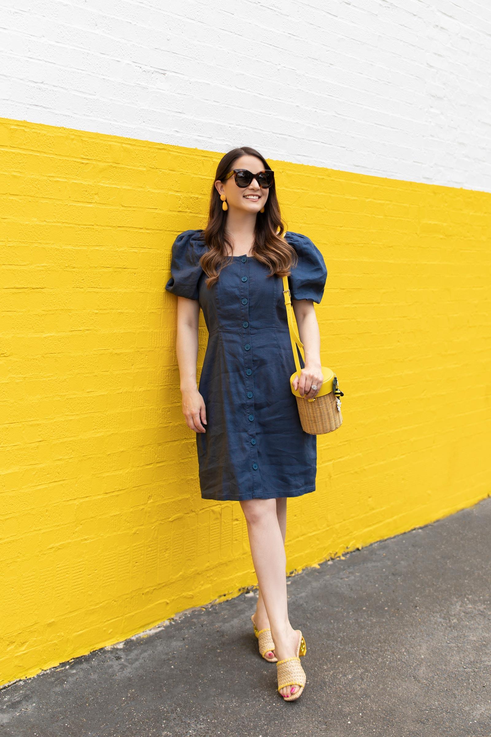 rachel parcell navy linen dress