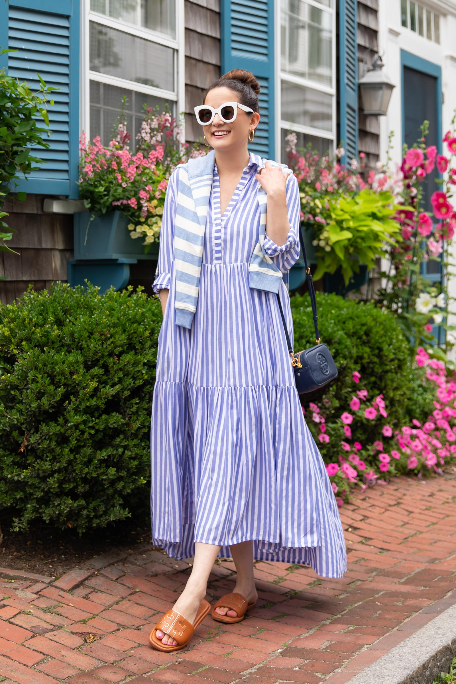 vineyard vines blue stripe shirtdress