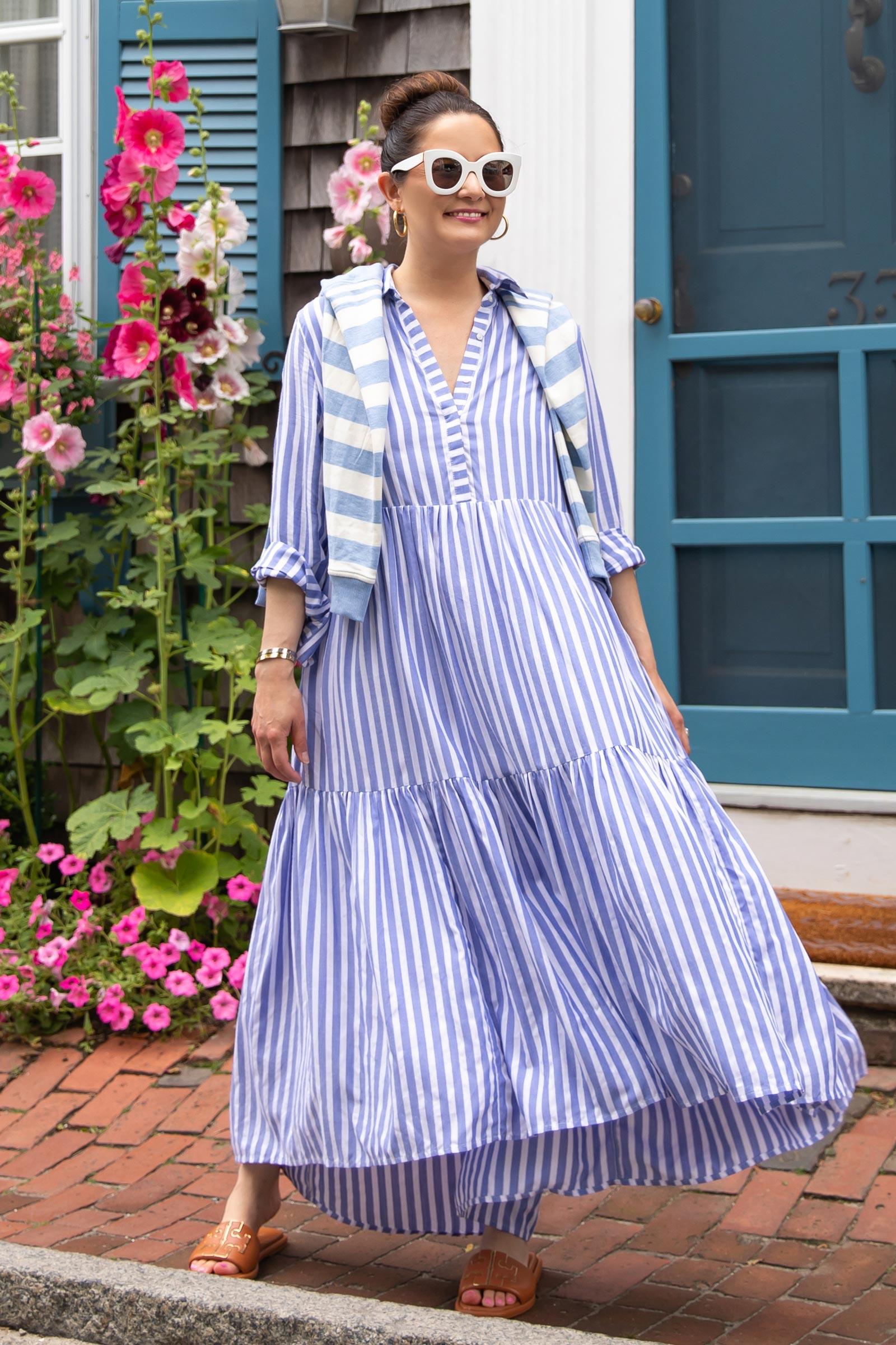 vineyard vines blue stripe tiered shirtdress