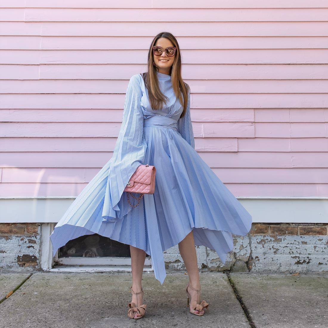 blue pinstripe pleated dress