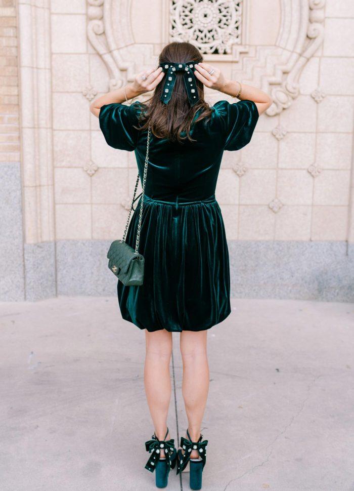 dillards green velvet dress