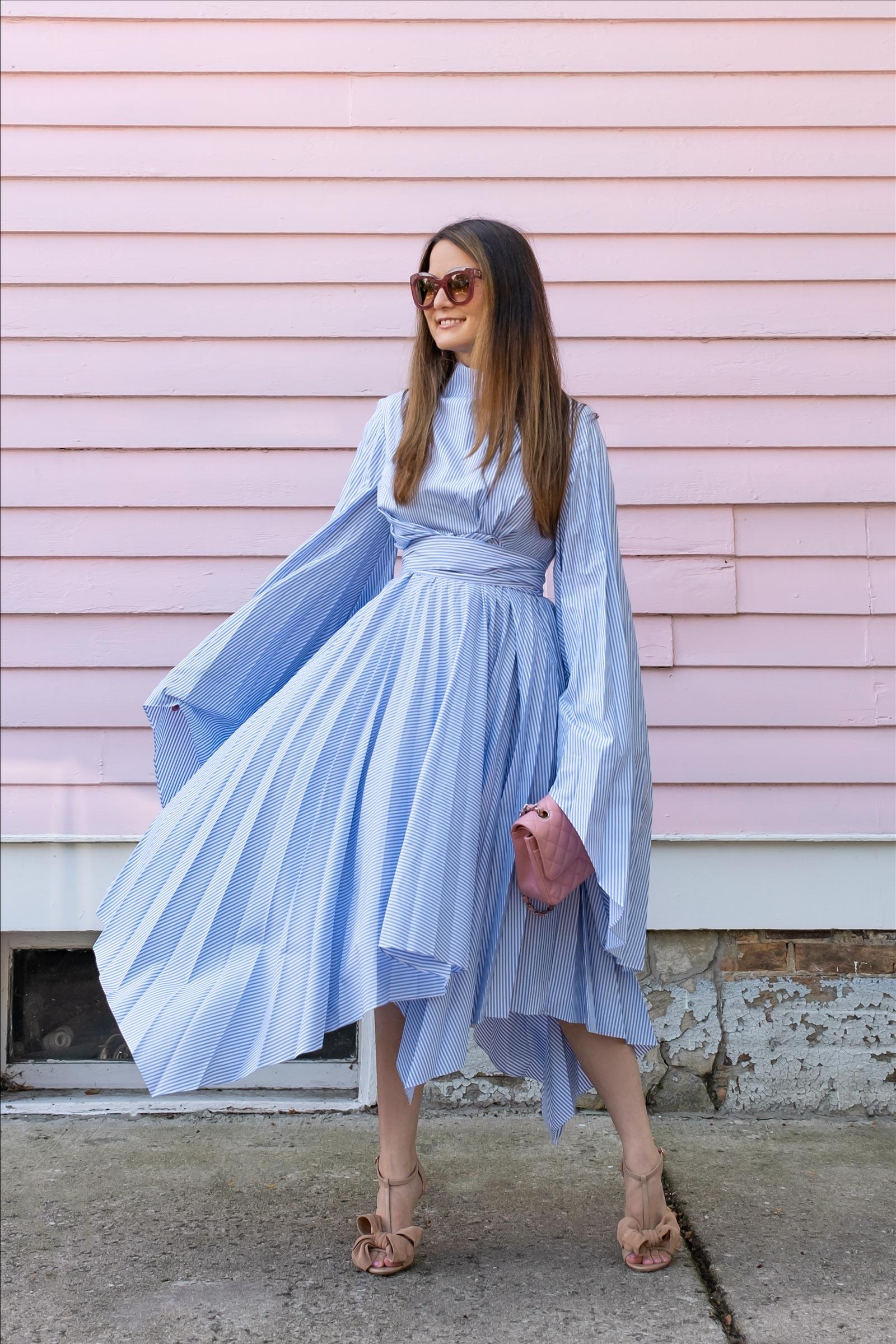 jennifer lake blue stripe pleated wrap dress