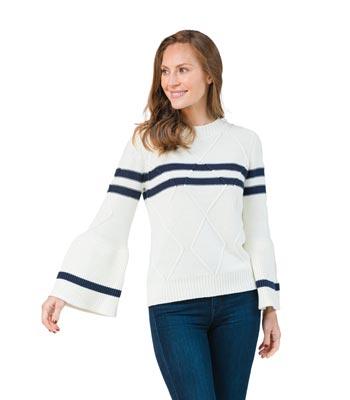 Sail to Sable Blue White Sweater
