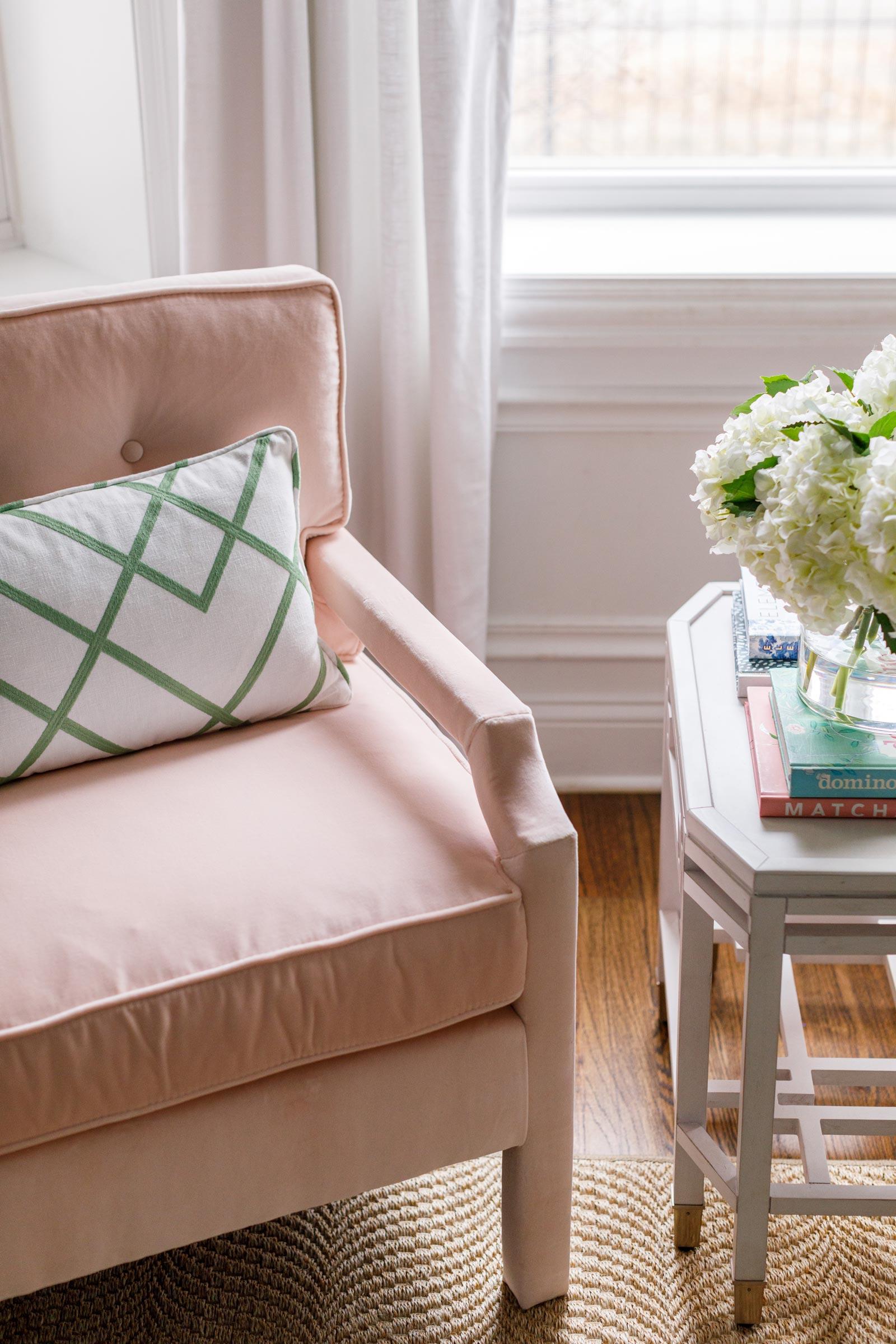 Ballard Designs Pink Velvet Chair